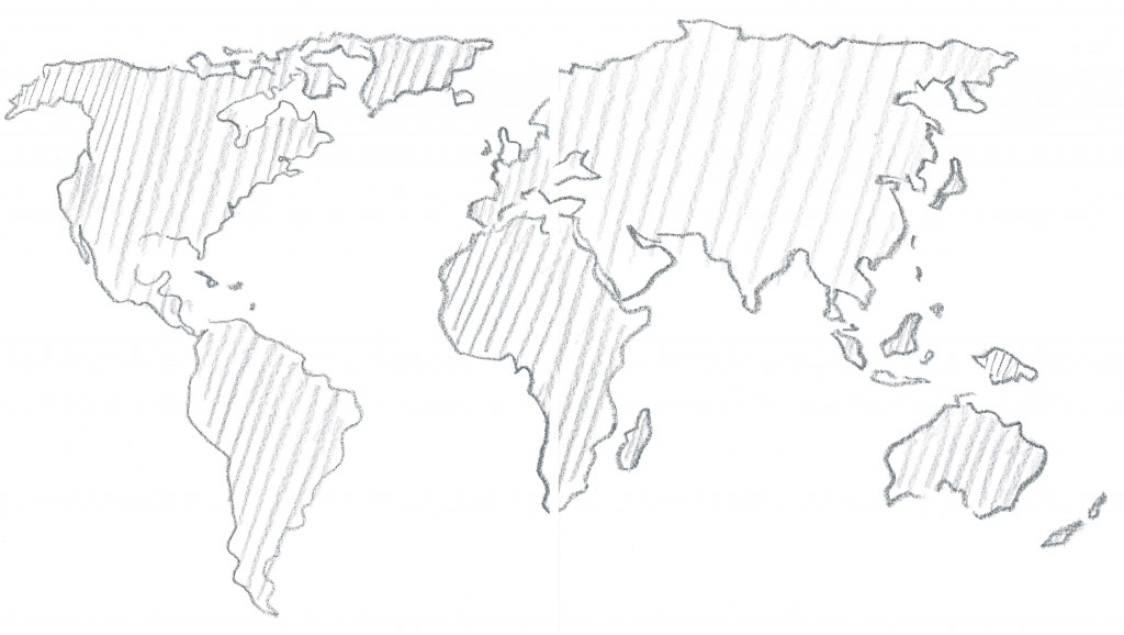 Weltkartenskizze